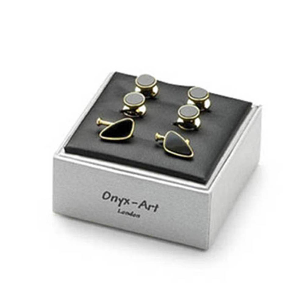 Leaf Shaped Onyx With Gilt Chain Cufflinks With Matching Dress Stud Set