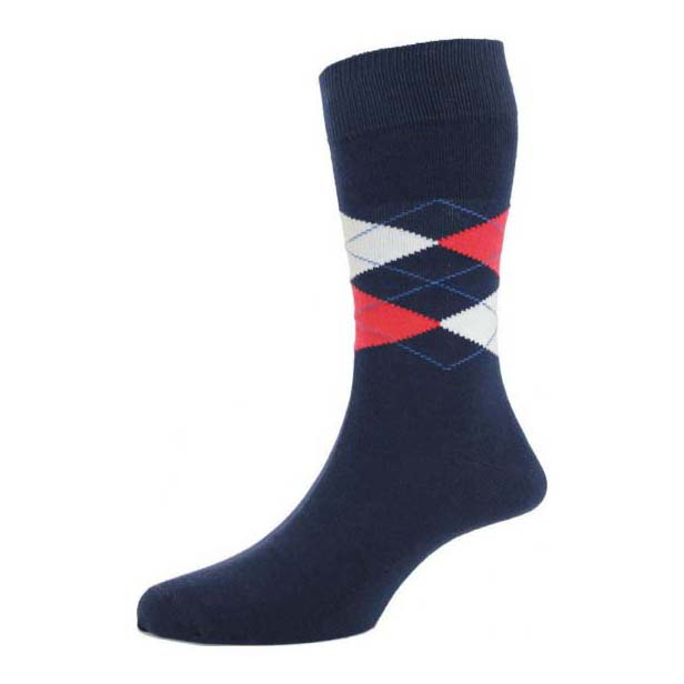 Bright Navy Argyle Patterned Socks
