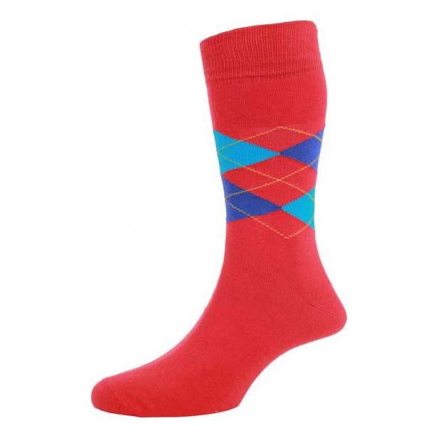 Bright Red Argyle Patterned Socks