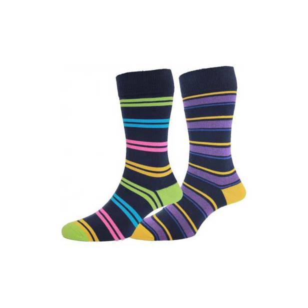 Navy and Lime Striped Twin Pair Socks