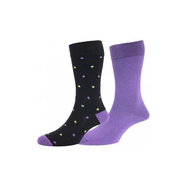 Black with Spots, plus Plain Purple Twin Pair Sock Pack