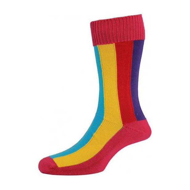 Fuchsia Ribbed Rainbow Striped Cotton Rich Socks