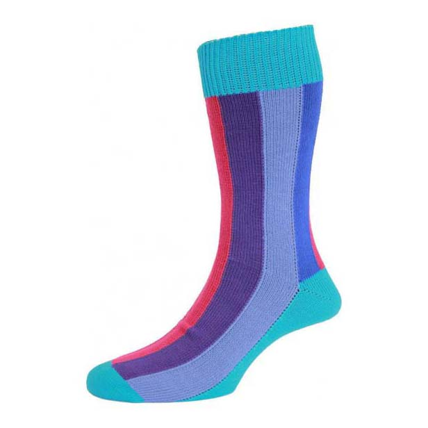 Turquoise Ribbed Rainbow Striped Cotton Rich Socks