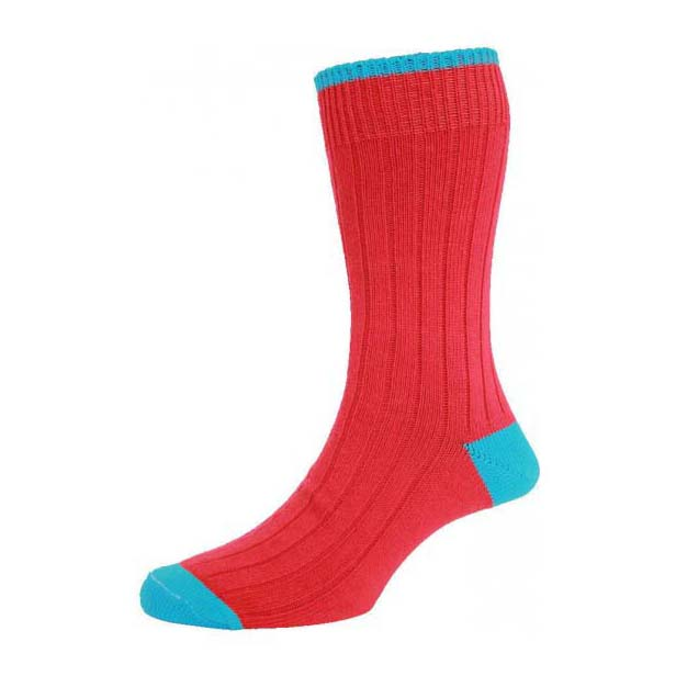 Red with Turquoise Contrast Heel and Toe Cotton Rich Socks