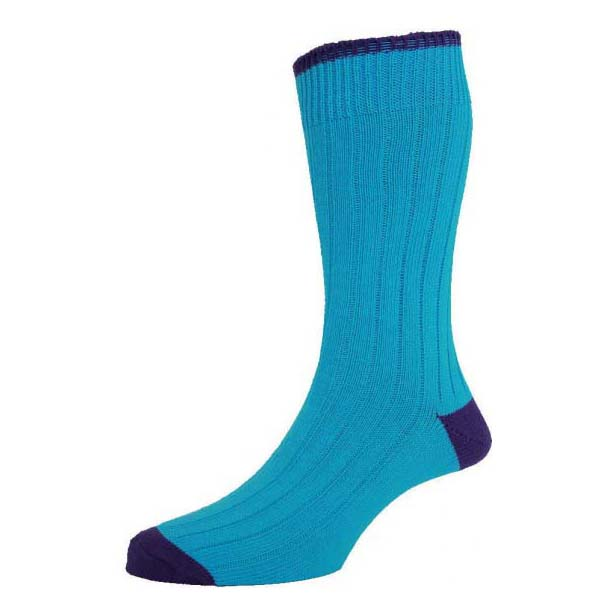 Turquoise with Purple Contrast Heel and Toe Cotton Rich Socks