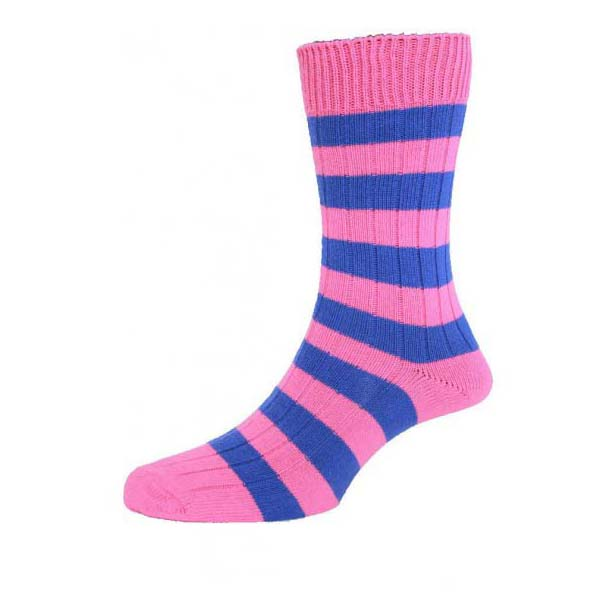 Fuchsia and Royal Blue Chunky Horizontal Striped Socks