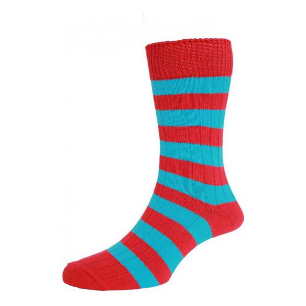 Red and Turquoise Chunky Horizontal Striped Socks