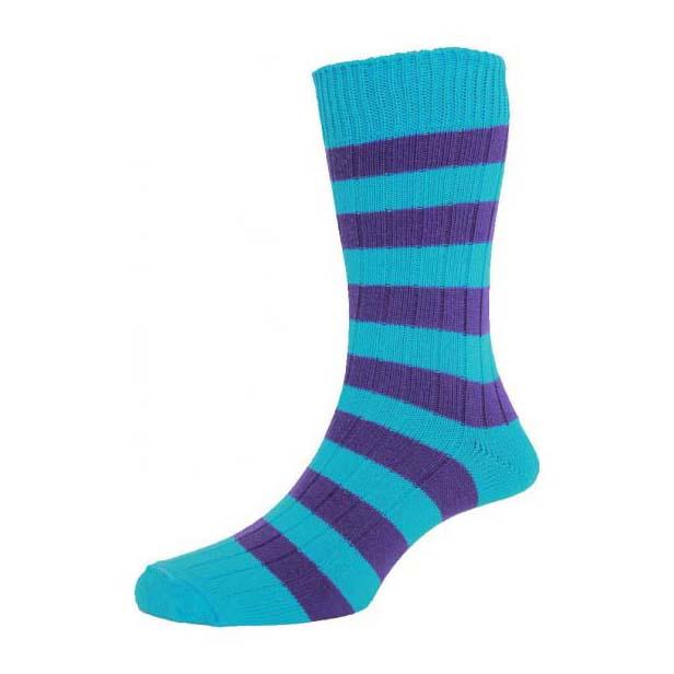 Turquoise and Purple Chunky Horizontal Striped Socks