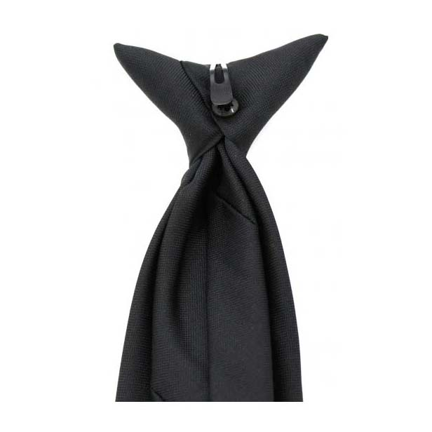 Black Polyester Clip-On Tie