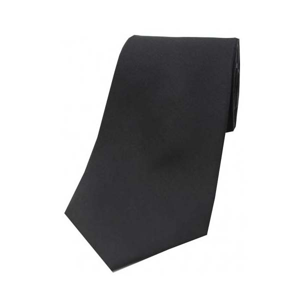 Black Satin Polyester Tie