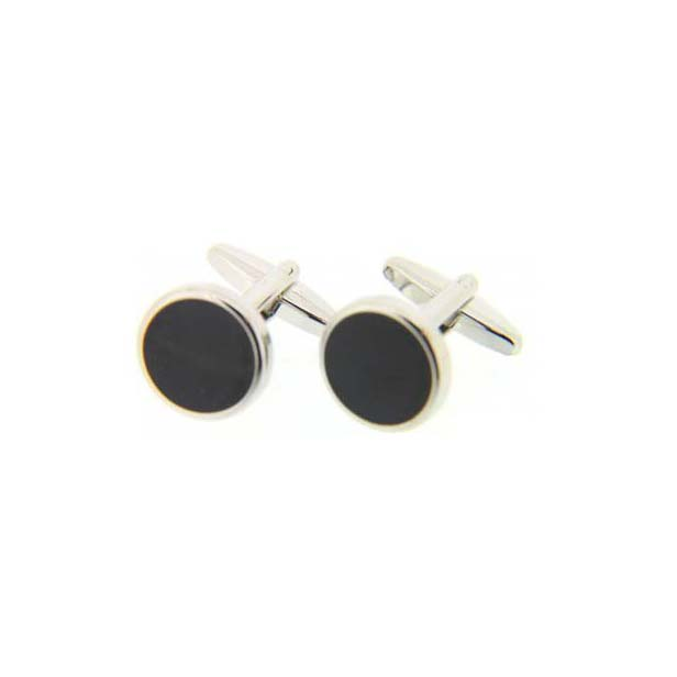 Black Enamel Round Cufflinks with Swivel Fitting