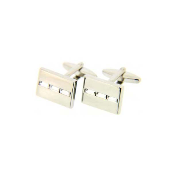 Silver Coloured with Clear Crystal Baguette Stone Trio Cufflinks