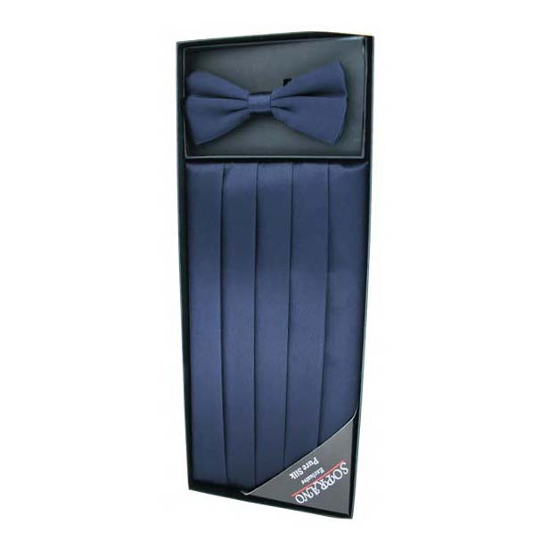 Navy Silk Cummerbund and Bow Tie Set