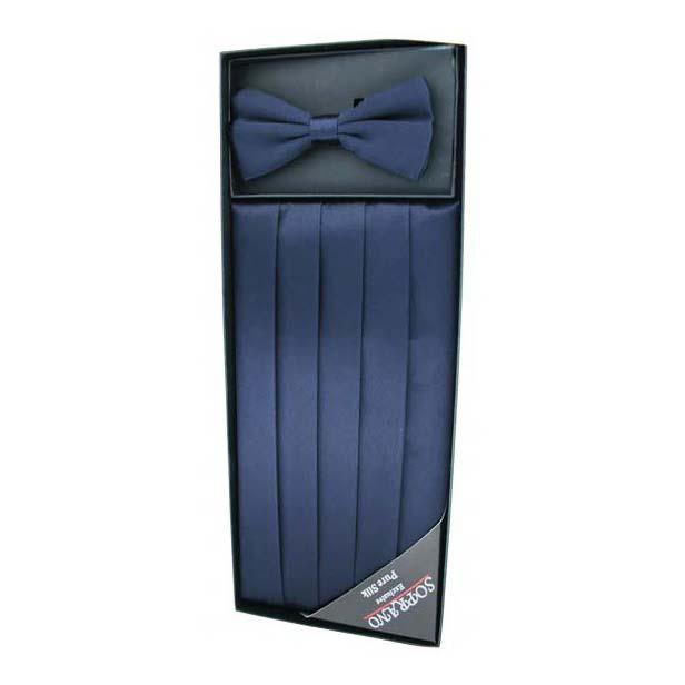 Navy Silk Cummerbund and Bow Tie Set