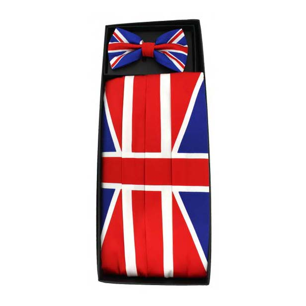 Union Jack Silk Cummerbund and Bow Tie Set