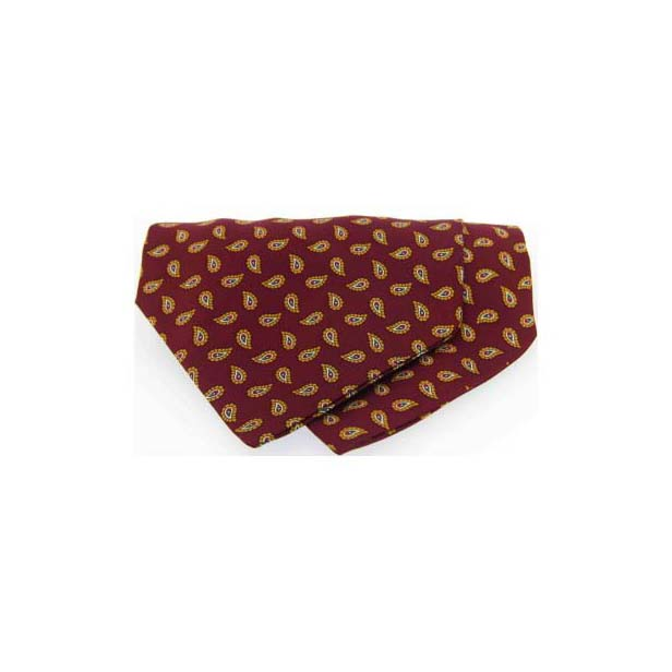 Wine Paisley Silk Twill Tear Drop Pattern Cravat