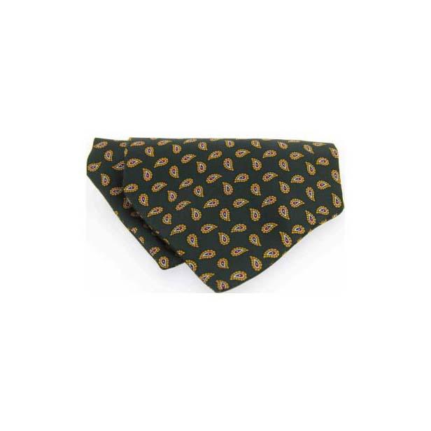 Green Paisley Silk Twill Tear Drop Pattern Cravat