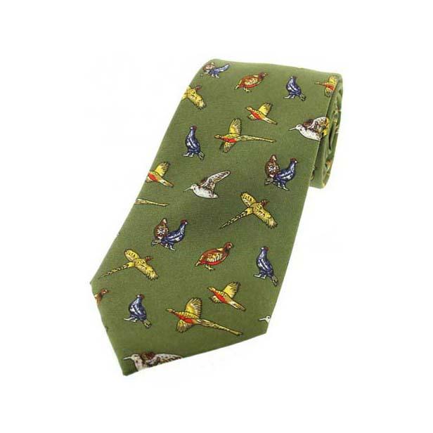 Country Birds On Green Children's Silk Tie