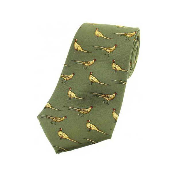 Standing Pheasants On Green Children's Country Silk Tie