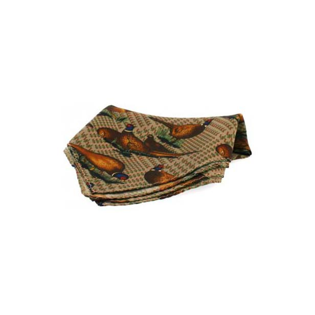 Tweed Standing Flying Pheasant Silk Pocket Square