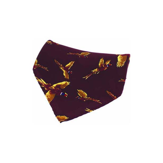 Wine Flying Pheasant Silk Pocket Square