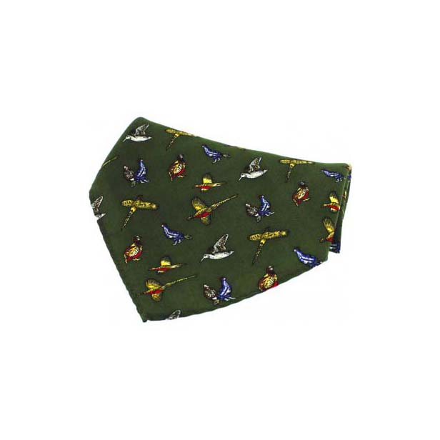 Green Country Birds Silk Pocket Square