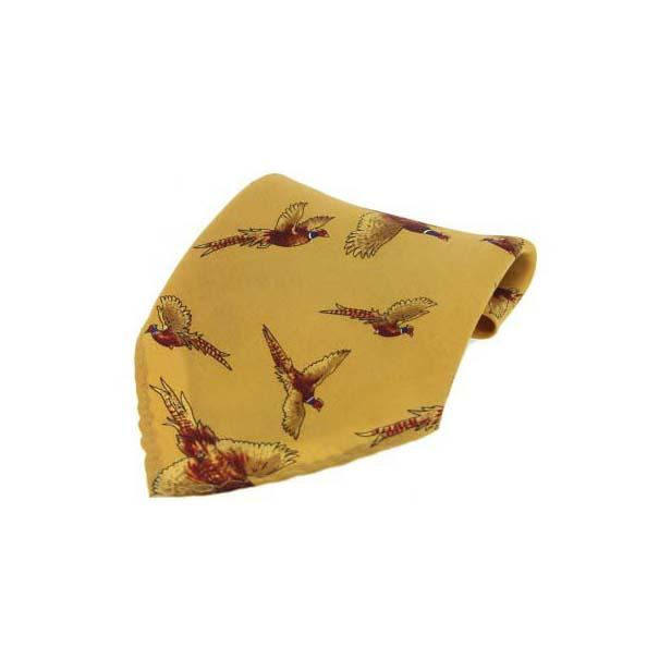 Mustard Flying Pheasant Silk Pocket Square