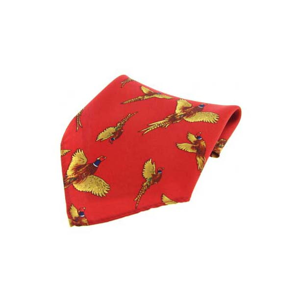 Red Flying Pheasant Silk Pocket Square