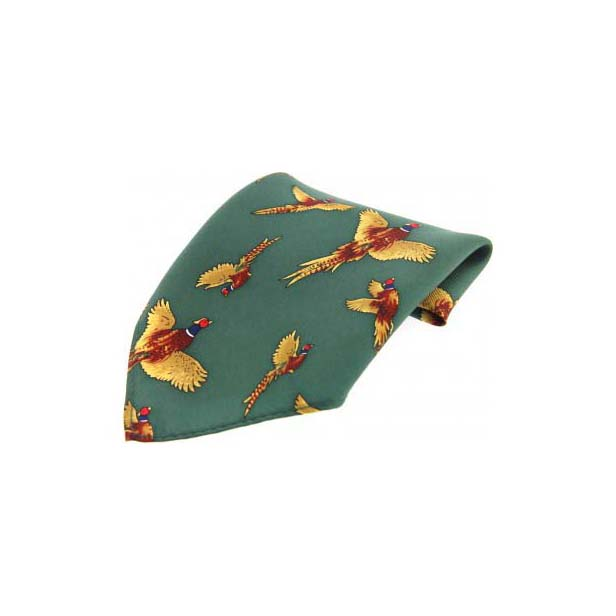 Forrest Green Pheasant Silk Pocket Square
