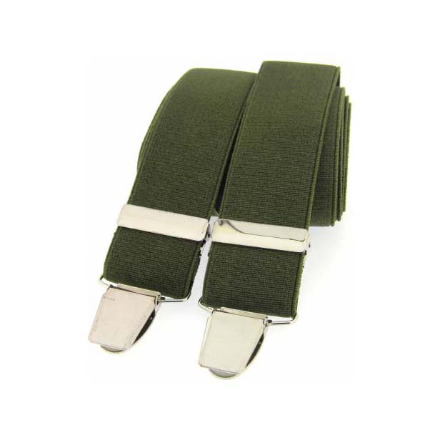 Olive Plain Elasticated Braces