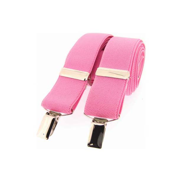 Pink Plain Elasticated Braces