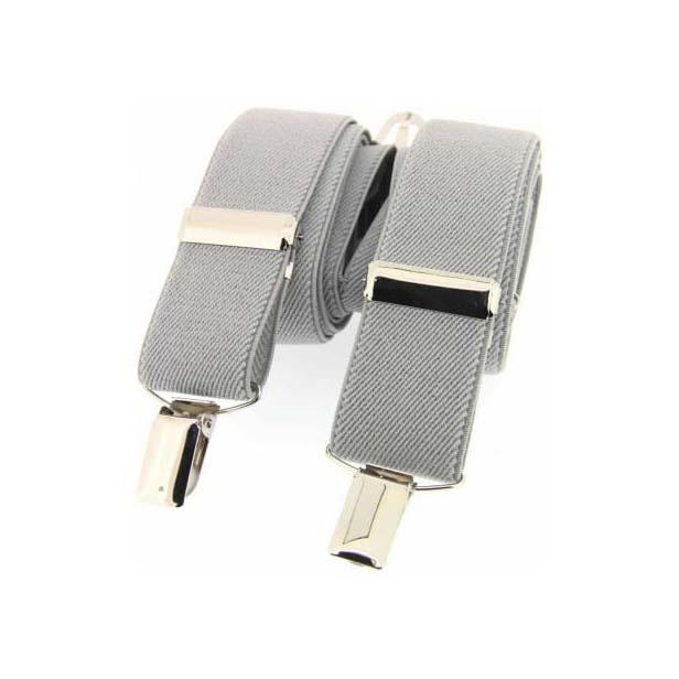 Silver Plain Elasticated Braces