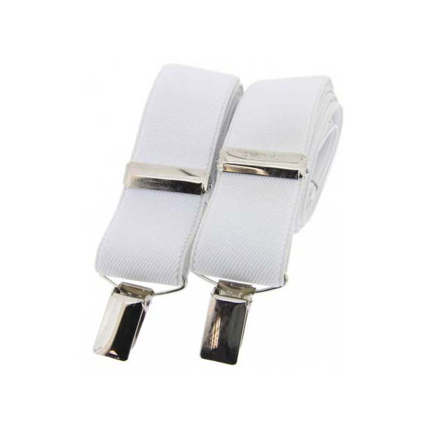 White Plain Elasticated Braces