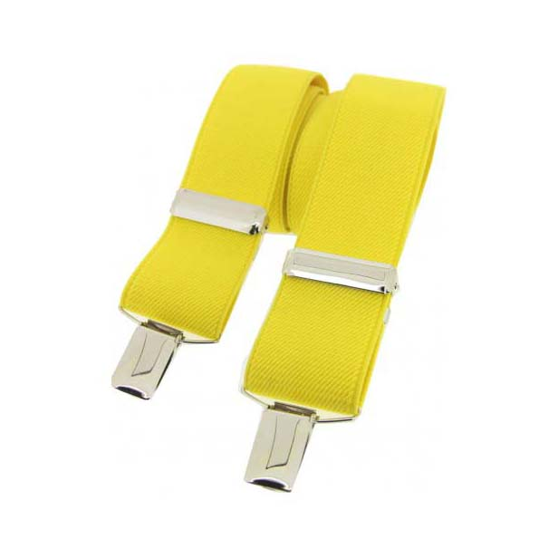 Yellow Plain Elasticated Braces