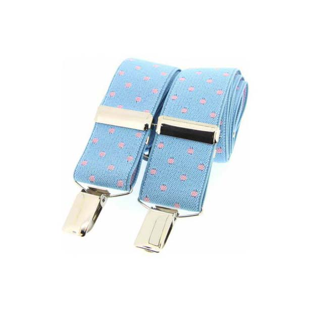 Sky Blue and Pink Polka Dot Elasticated Braces