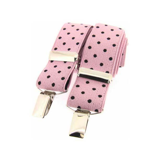 Black and Pink Polka Dot Elasticated Braces