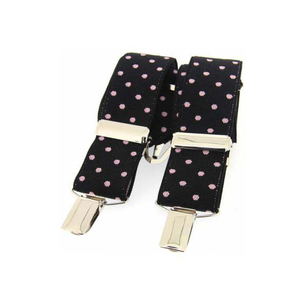 Pink and Black Polka Dot Elasticated Braces
