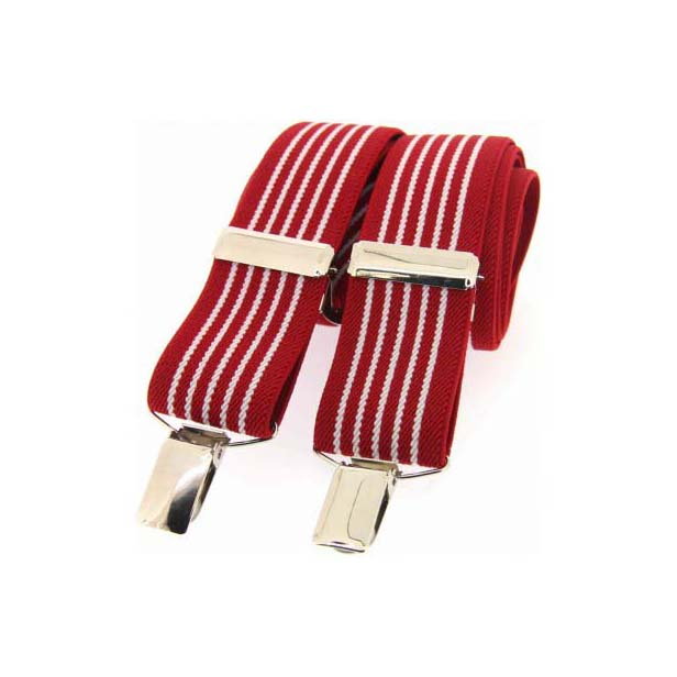 Red and White Striped Elasticated Braces