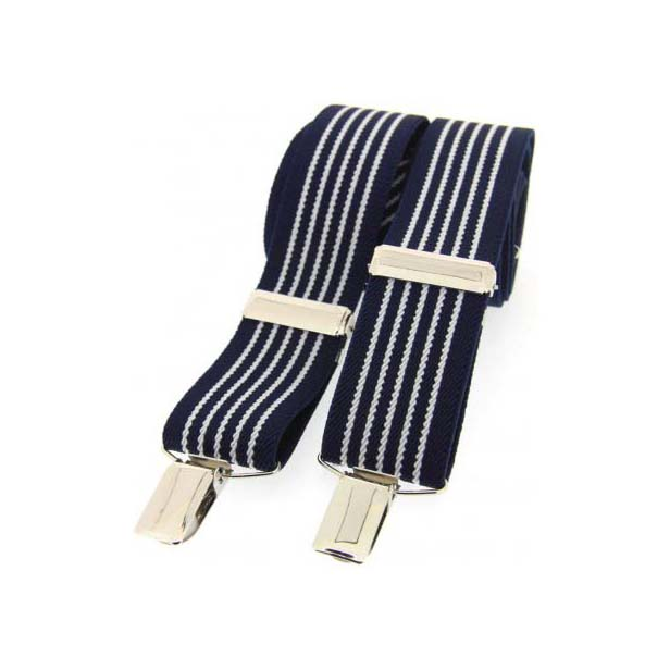 Navy and White Striped Elasticated Braces