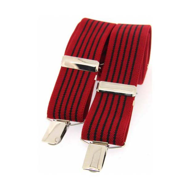 Red and Black Striped Elasticated Braces