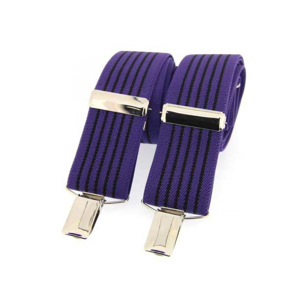 Purple and Black Striped Elasticated Braces