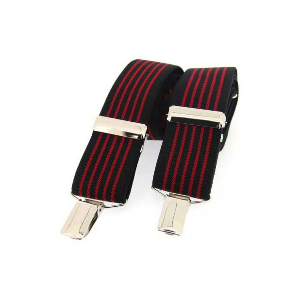 Black and Red Striped Elasticated Braces