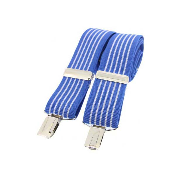 Sky Blue and White Striped Elasticated Braces