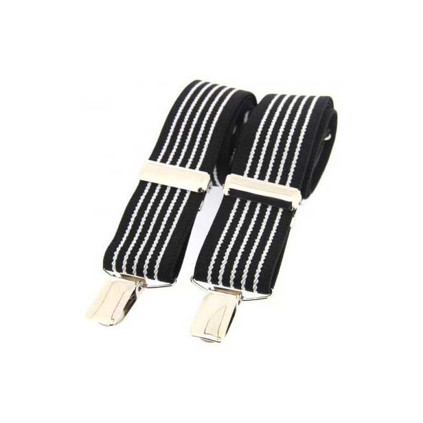 Black and White Striped Elasticated Braces