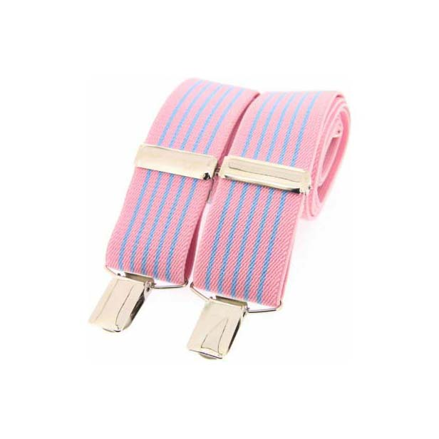 Pink and Sky Blue Striped Elasticated Braces