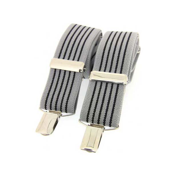 Grey and Black Striped Elasticated Braces