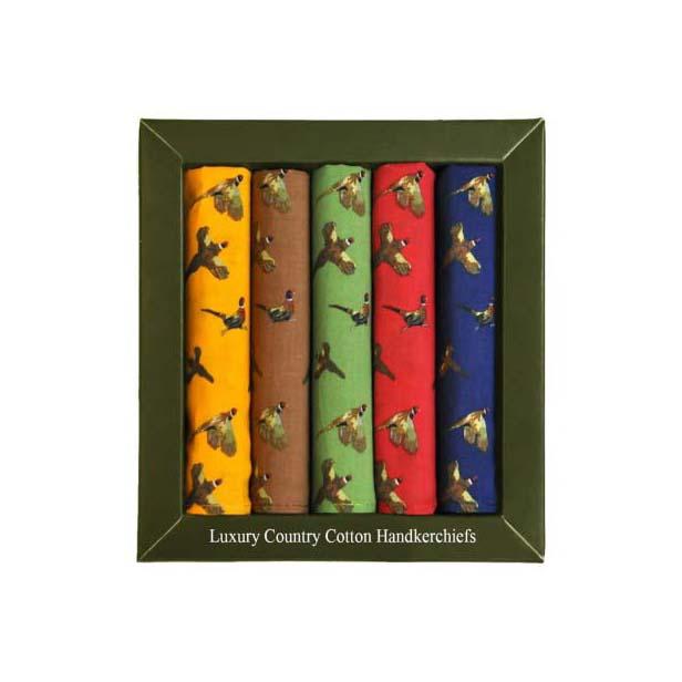 Multi Coloured Pheasant Design Cotton Pocket Square