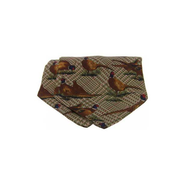 Pheasant on Tweed Silk Twill Cravat