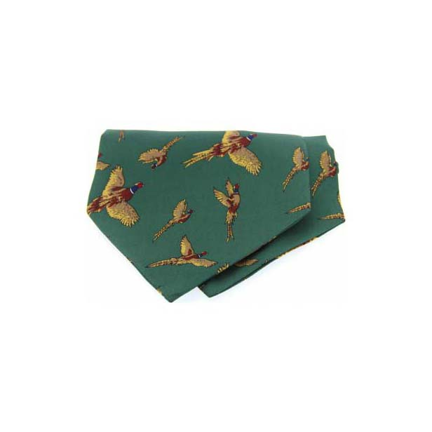Flying Pheasant on Green Twill Silk Cravat