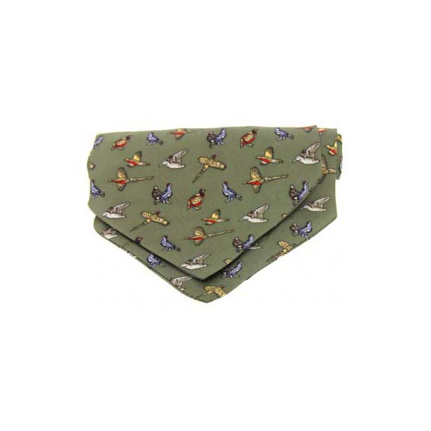 Country Birds on Green Silk Twill Cravat